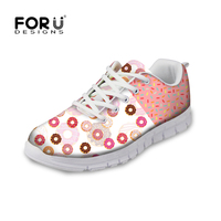 FORUDESIGNS Sweet Donuts Pattern Women Autumn Casual Flat Shoe Fashion Pink Female Breathable Comfortable Shoes For