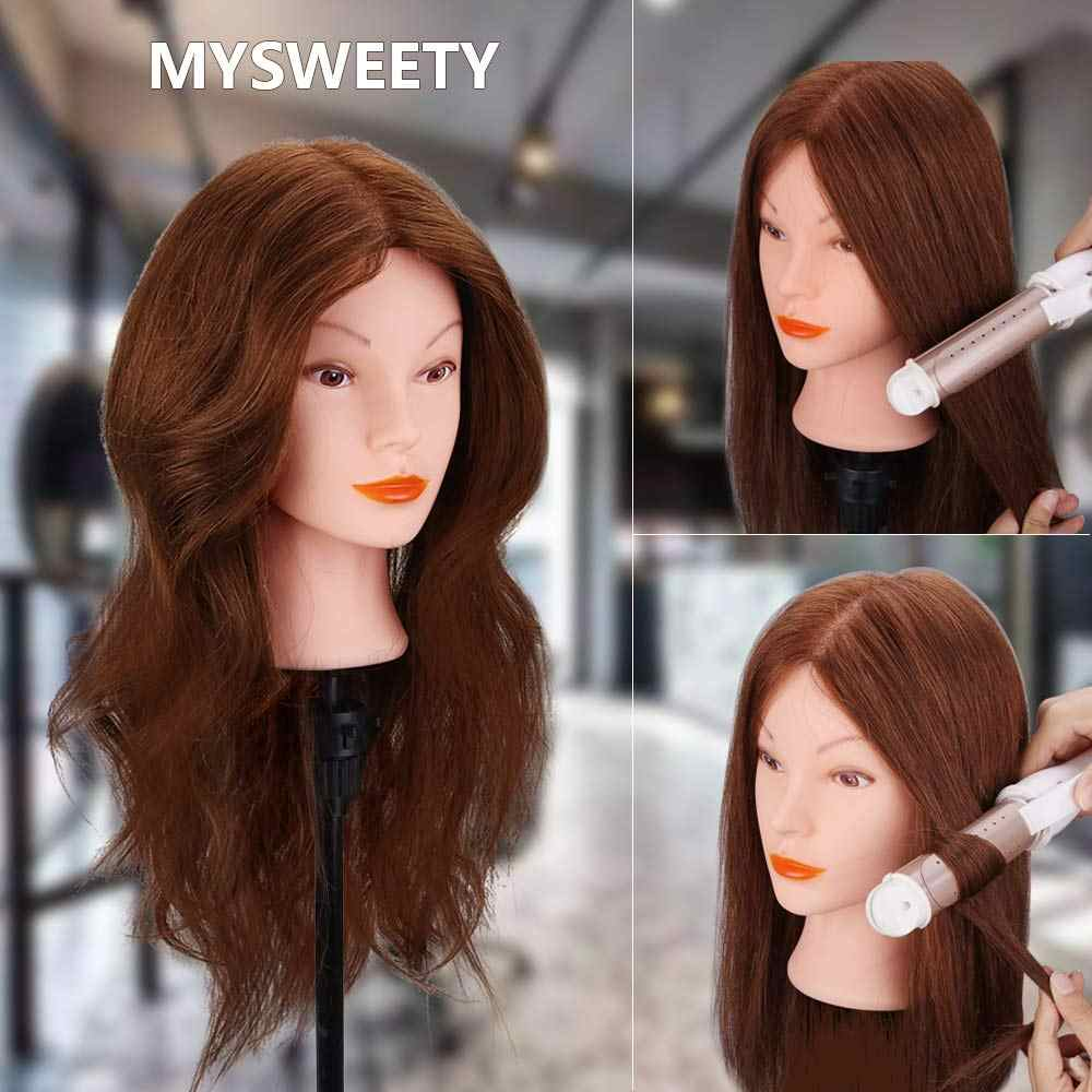 18 Inches 100% Human Hair Styling Training Head Head for Straightening,Curling,Dyeing,Bleaching