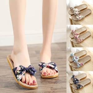 Sandals Slipper Flip-Flops Beach-Shoes Linen Zapatos Female Bohemia Casual Summer Women