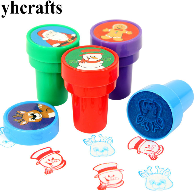 4PCS/Lot. 4 design Christmas stamper Christmas crafts Kids toys Paint toys Drawing toys Art tools Kindergarten toys cheap
