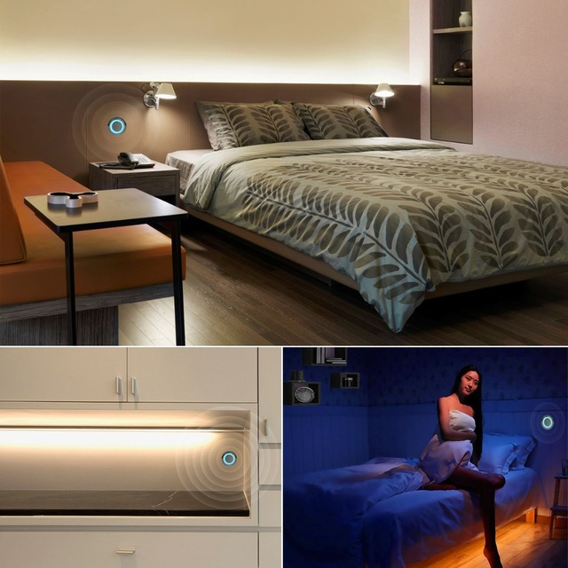 Stepless Dimmable LED Cabinet Light With Touch Dimmer Switch LED Strip Wardrobe Closet lamp EU Plug Power Adapter