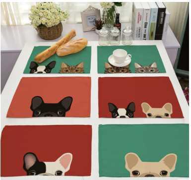 "CAMMITEVER 12""x16"" Cartoon Cats Dogs Cloth Napkin for Diner Party Xmas Supply Wedding Table Napkin Cotton Linen"