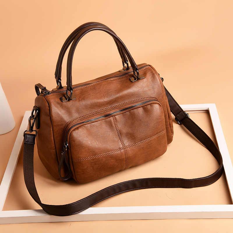 Alta qualidade moda feminina bolsas de couro genuíno do vintage ombro crossbody sacos de couro de pele carneiro macio