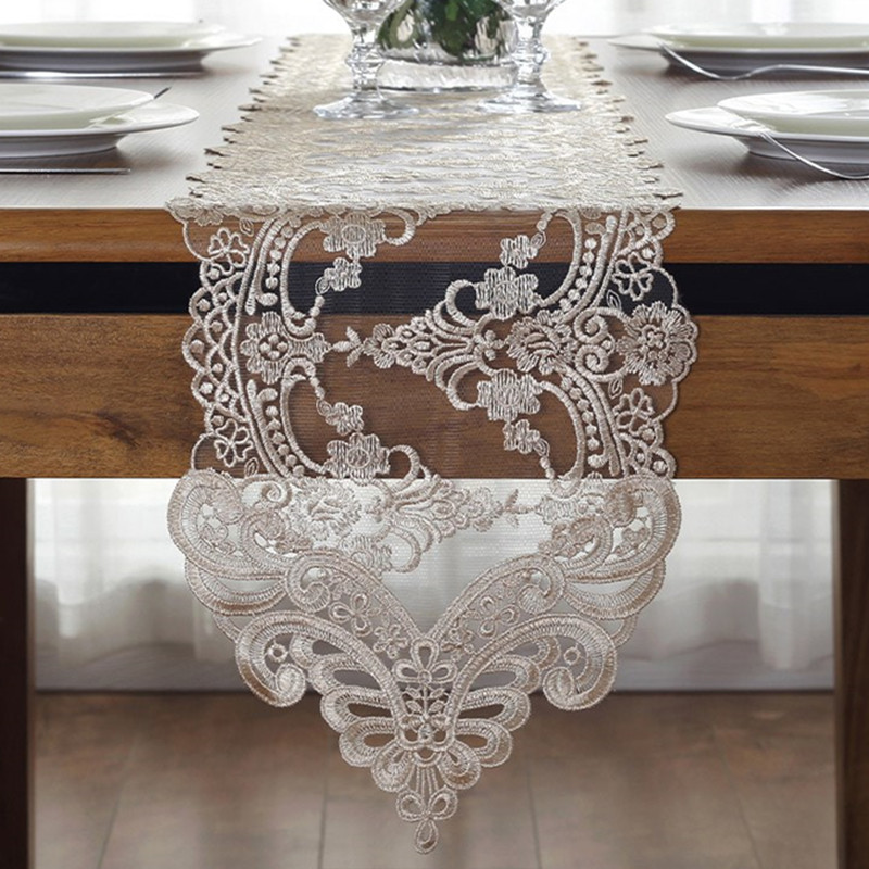 Elegant Tableware For Dining Rooms With Style: White Embroidery Table Runner Elegant Lace Tableware