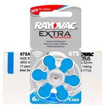 60 PCS/1 Pack Rayovac Extra เครื่องช่วยฟังแบตเตอรี่ Zinc Air 675A 675 A675 PR44 แบตเตอรี่สำหรับเครื่องช่วยฟัง