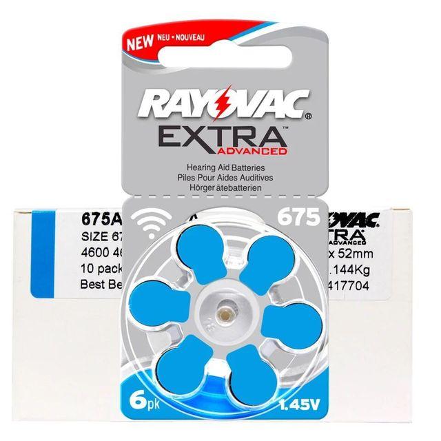 60 pièces/1 paquet de piles daide auditive supplémentaires Rayovac Zinc Air 675A 675 A675 PR44 pile bouton pour aides auditives