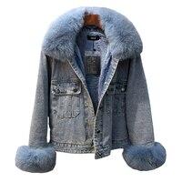 Высокое качество 2018 зима натуральный Лисий мех Женская куртка ковбойская куртка пальто женская джинсовая свободная мягкая меховая подклад