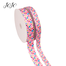 JOJO BOWS 25/38mm 5y Grosgrain Ribbon Heart Love Printed Webbing For Clothing Handmade Craft Supplies Gift Wrapping DIY Hair Bow