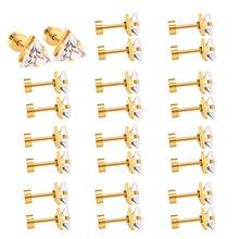 新モデルステンレス鋼ねじプラグスタッドイヤリングトライアングルクリスタルファッションイヤリング卸売 LUXUKISSKIDS