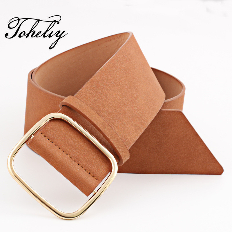 New Fashion PU leather of women   belt   Wide   belt   Female   Belts   Square metal pin buckle   belts   for women Lady girdle