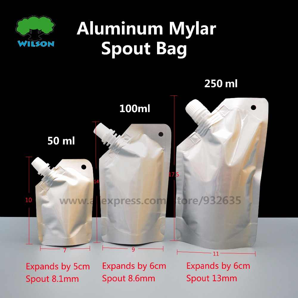 Doypack  50-250ML Aluminum Foil Stand Up Spout Liquid Bag Pack Sauce,Beverage,Squeeze,Drink Spout Pouch 20 Pcs/lots