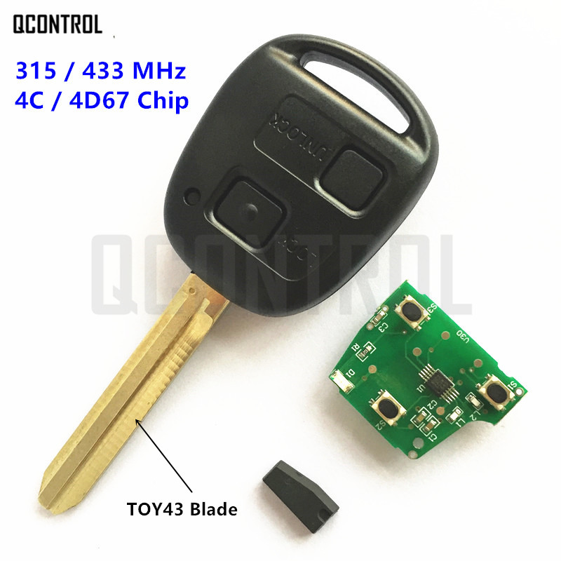 QCONTROL 2 Buttons Remote Key Fit for Toyota Camry Prado Corolla Car 315MHz/433MHz 4C/4D67 Chip Переносные часы