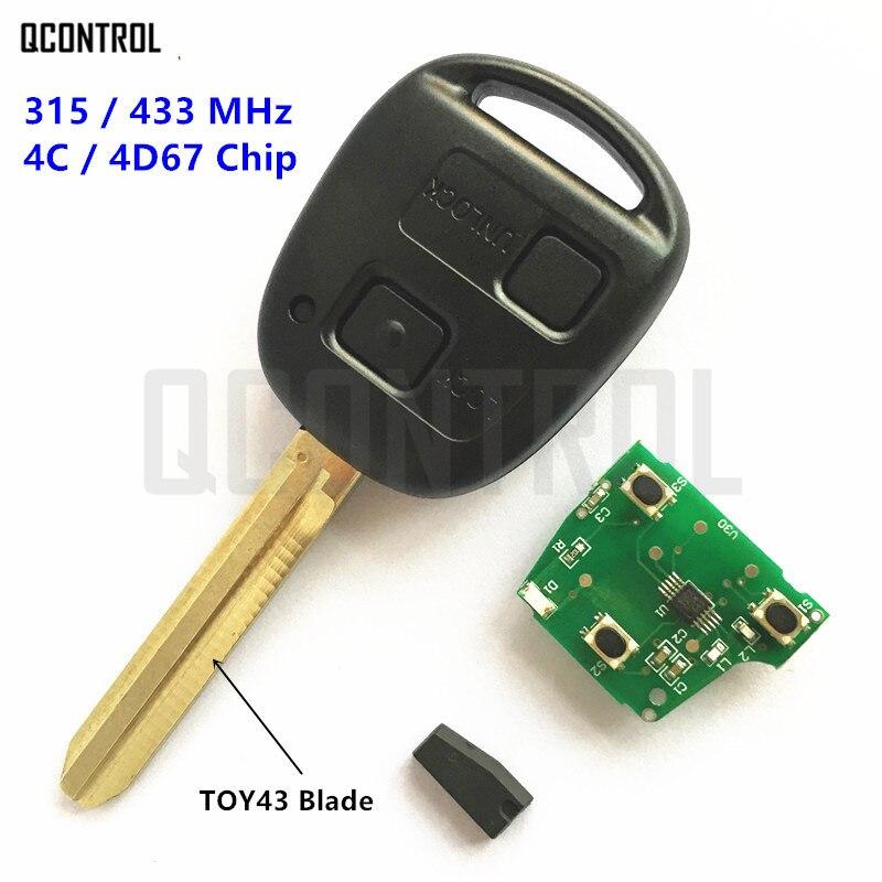 QCONTROL 2 Tasti Chiave A Distanza Misura per Toyota Camry Prado Corolla Auto 315 MHz/433 MHz 4C/4D67 Chip