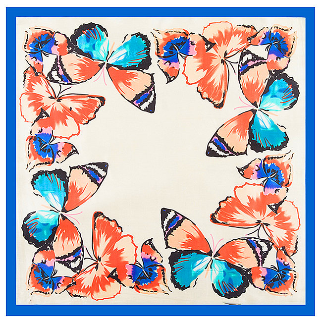 [POBING]Silk Square Spring   Scarf   Butterfly Printed   Scarves   High Quality Foulard NeckerChief Small Bandana Lady Gift Accessory