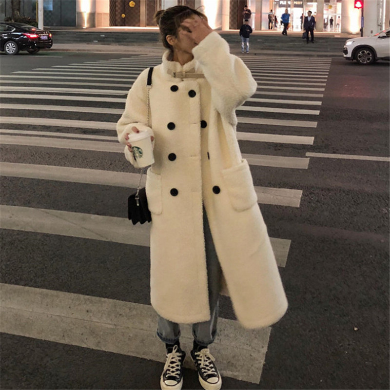 MUMUZI 2019 New Fashion Beige Faux Fur Coat Winter Coat Women Long Style Fur Gilet Women's Fur Jacket Fur Coats For Ladies