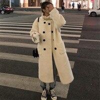 MUMUZI 2019 New Fashion Beige Faux Fur Coat Winter Coat Women Long Style Fur Gilet Women's Fur Jacket Fur Coats For Ladies