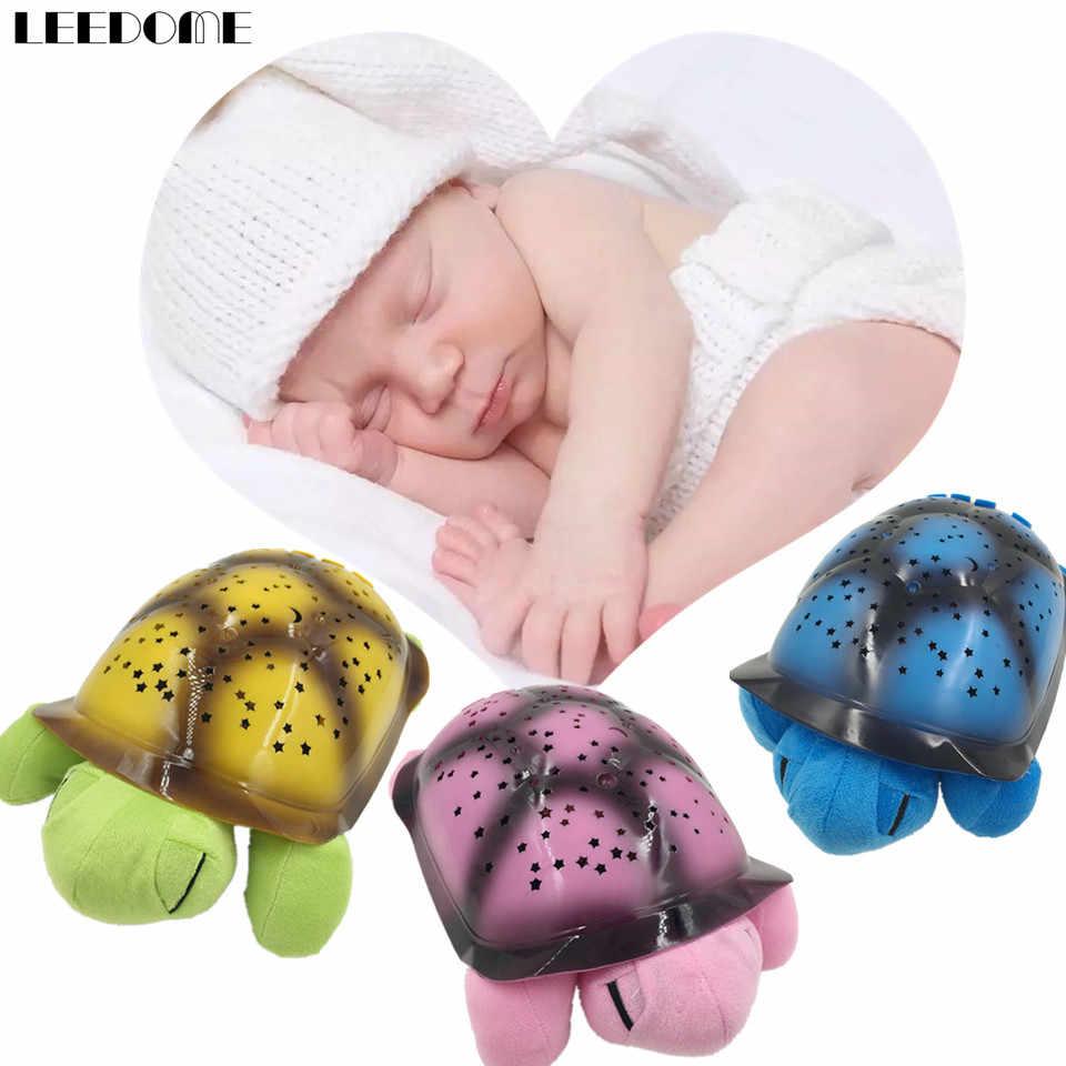 90ed76dcfc4b Dropship Cute 3D Turtle Baby Nightlight Projector Star Moon Build In Light  Music Sleep Night Lamp