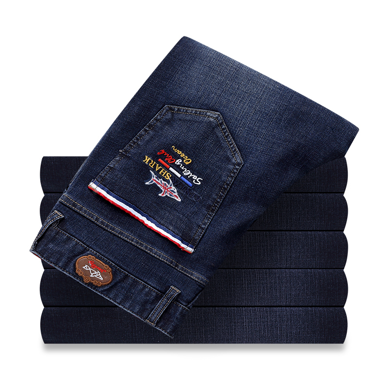 mid waist zip fly straight full length smart casual sharked   jeans   pants high quality fashion easy care ineslaticity size 29-42