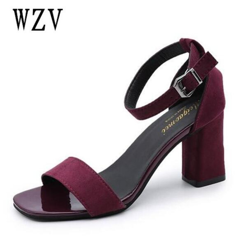 2018 Ankle Strap Heels Women Sandals Summer Shoes Women Open Toe Chunky High Heels Party Dress Sandals Big Size 40 A762 genshuo women sandals fashion high heels white polka dots sweet buckle ankle strap sandals women chunky heel open toe size 5 5 8
