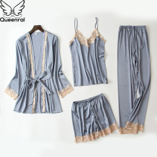 Queenral 4PCS Sexy Silk Pajamas Set For Women Satin Sleepwear Mujer Invierno Home Clothes