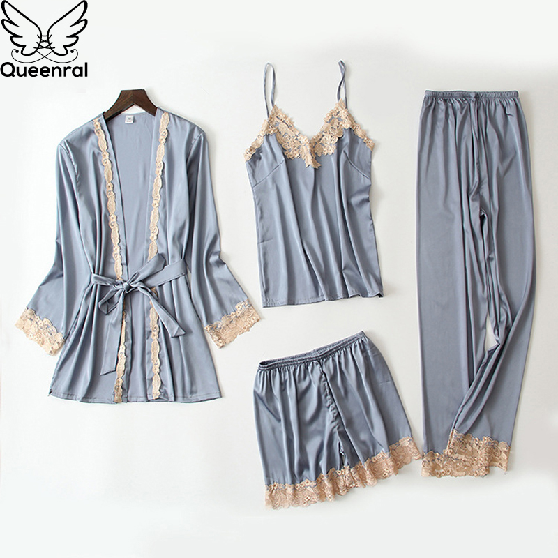 Queenral 4PCS Sexy Silk   Pajamas     Set   For Women Satin Sexy Sleepwear   Set   Women   Pajamas     Set   Mujer Invierno Home Clothes For Women