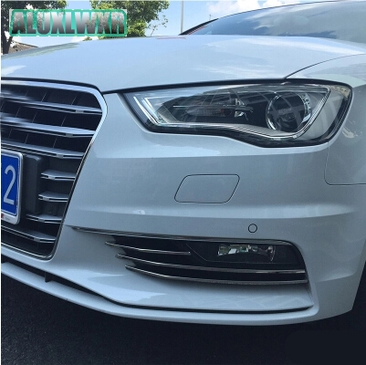 6PCS Stainless steel front fog light trim frame strip for audi A3 sedan 2013-2016 car accessories car-styling