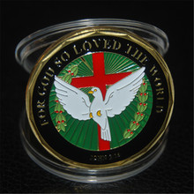 John 3:16 With Cross And Dove Christianity God Bible Verse Challenge Coin. Free Shipping 5pcs/lot