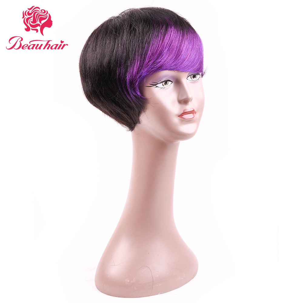 Beau Hair Short Bob Wig Ombre Color Peruvian Straight Hair Bob Non Remy Two Tone Hair Wig Hairline Free Part Selling