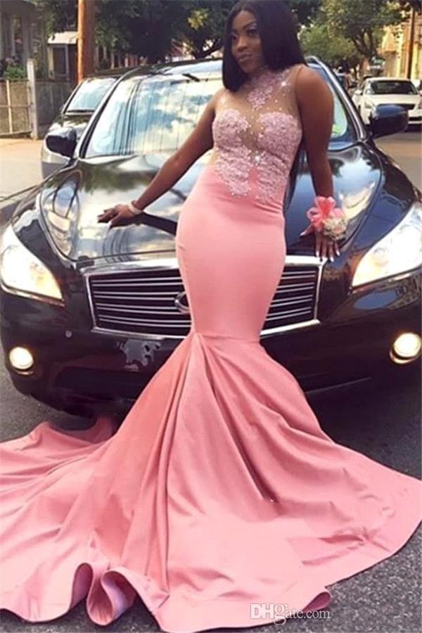 Robes de bal rose sirène sud-africain Nigeria nouveau col transparent paillettes Appliques Top longues robes de soirée grande taille Vestidos