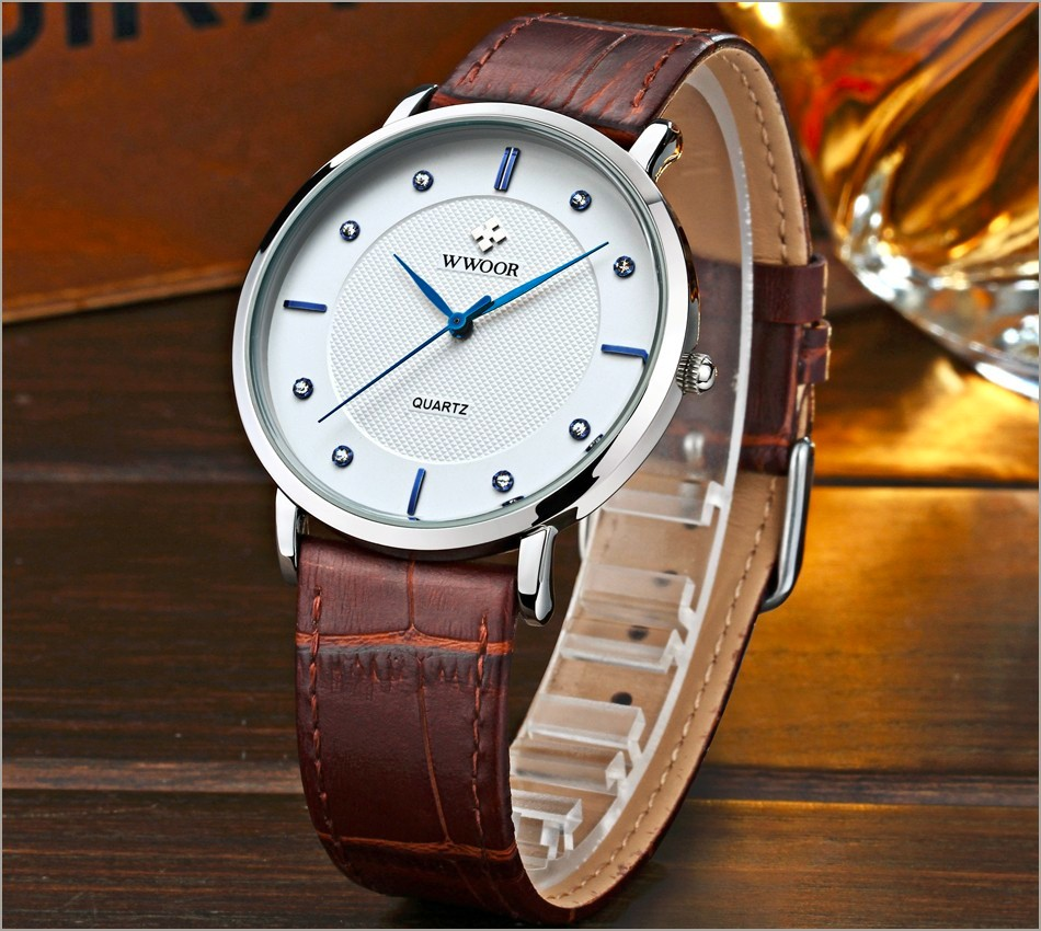 New Top Brand Men Sports Watches Men's Quartz Ultra Thin Clock Genuine Leather Strap Casual Wrist Watch Male Relogio Waterproof 6