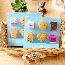 6pcs/lot Love Biscuit Milk Rubber Erasers Food Eraser Kids Square Round Rectangular Pencil Office School Stationery