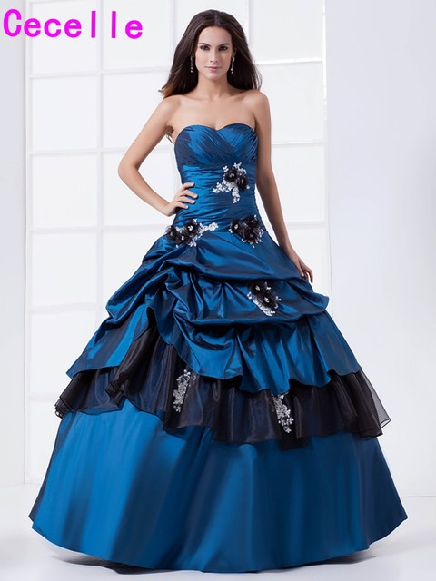d1656373ac7 Two Tones Royal Blue Black Ball Gown Quinceanera Dresses Vintage Taffeta  Pick-ups Girls Gothic Quinceanera Gowns Sweet 16 Dress