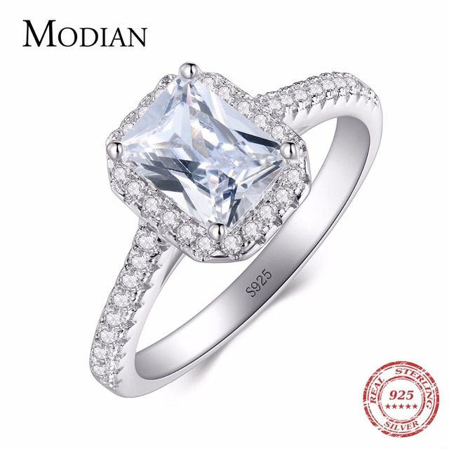 R&J 925 Solid Silver Rings For Women Wedding Jewelry Bijoux AAAAA zirconia vinta
