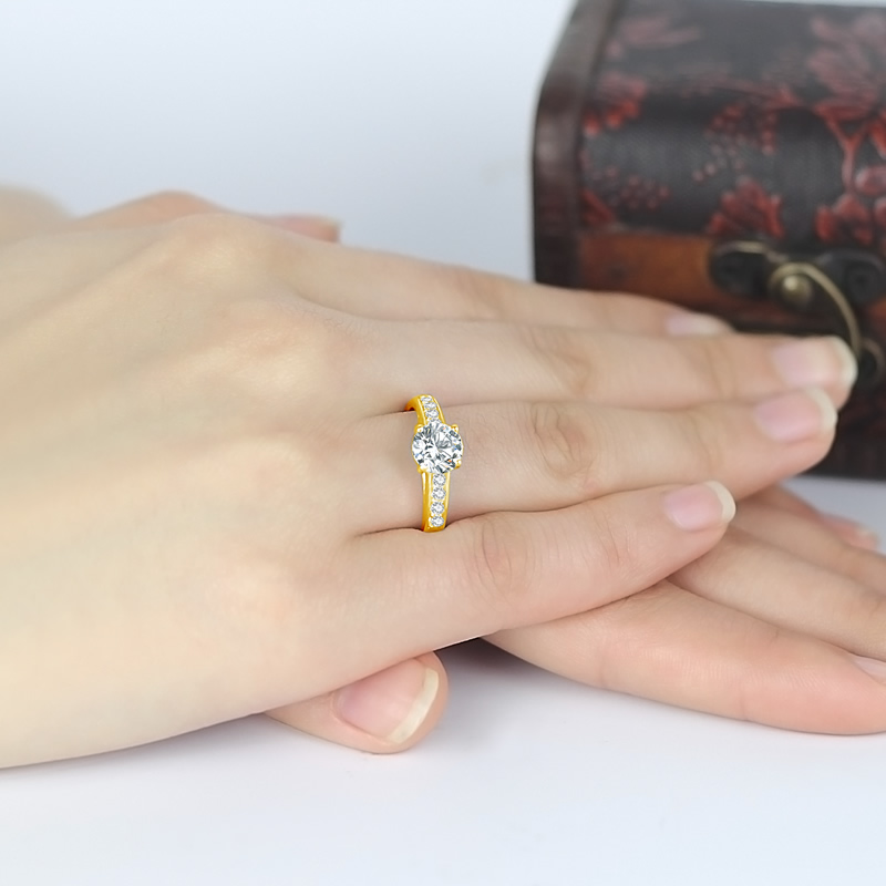 AINUOSHI Real 14K Solid Gold Engagement Rings Channel Setting Round Simulated Diamond Fine Jewelry Women Wedding Ring Customized-in Rings from Jewelry & Accessories    3