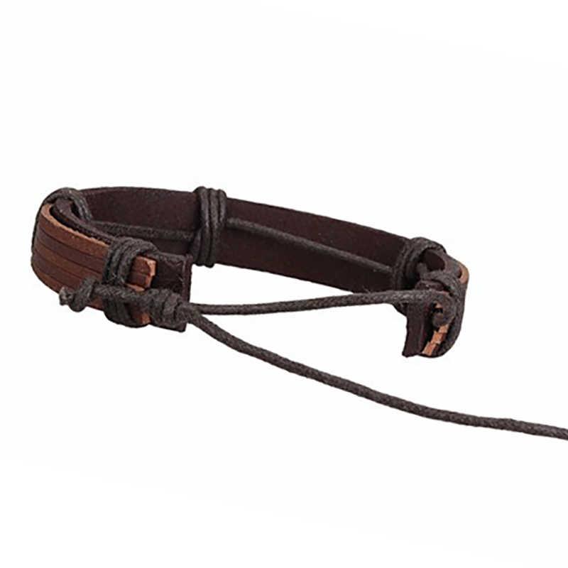 Seanuo Unisex 100% Genuine Leather Cuff Bangle Bracelet For Men Fashion Punk Rock Handwoven Women Charm Wristband Wrap Bracelets