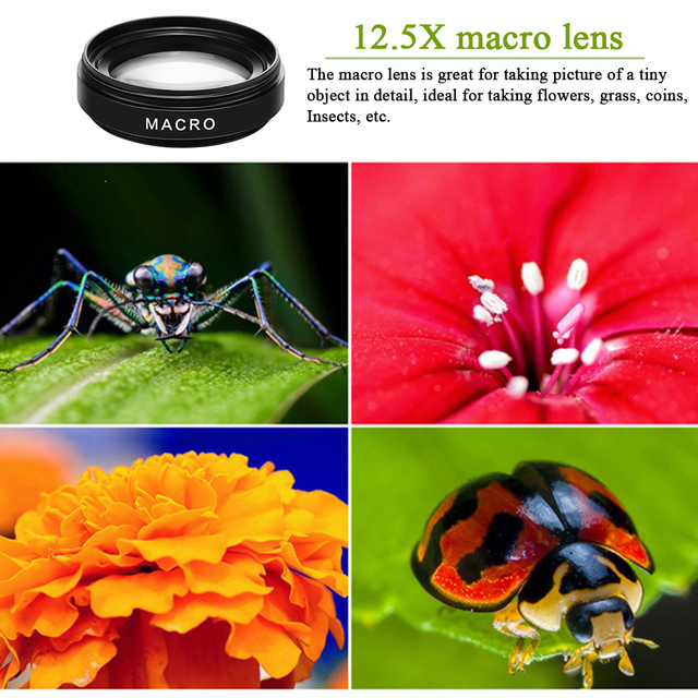 2 Functions Mobile Phone Lens 0.45X Wide Angle Len & 12.5X Macro HD Camera Lens Universal for iPhone Android Phone 4
