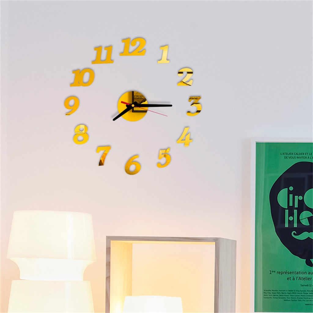 ISHOWTIENDA DIY naklejka ścienna zegar 3D duże lustro zegar naklejki ścienne 2019 dekoracji wnętrz nowoczesny Design zegary ścienne naklejki ścienne