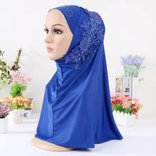 Turban HIJAB musulman instantané avec des diamants, couvre-hijab en fleur pour femmes et filles, foulard islamique prêt à porter