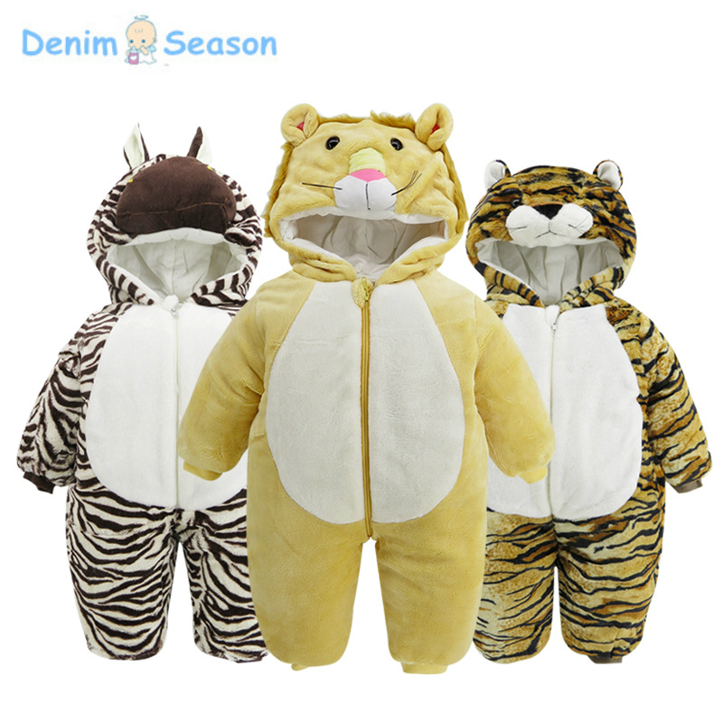 Denim Season 0-24m Newborn Baby Clothes Cotton Thicken Warm Fantasia Baby Romper Animal Cosplay Jumpsuit Baby Boy Winter Rompers warm thicken baby rompers long sleeve organic cotton autumn