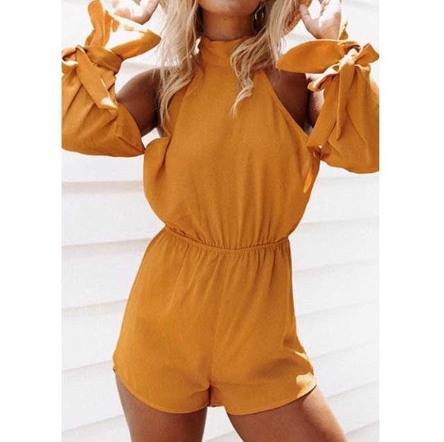 9d605dd519 Solid Yellow Jumpsuit Women Clubwear Off-Shoulder Playsuit Bandage Sleeve  Party Rompers Womens Jumpsuit Backless