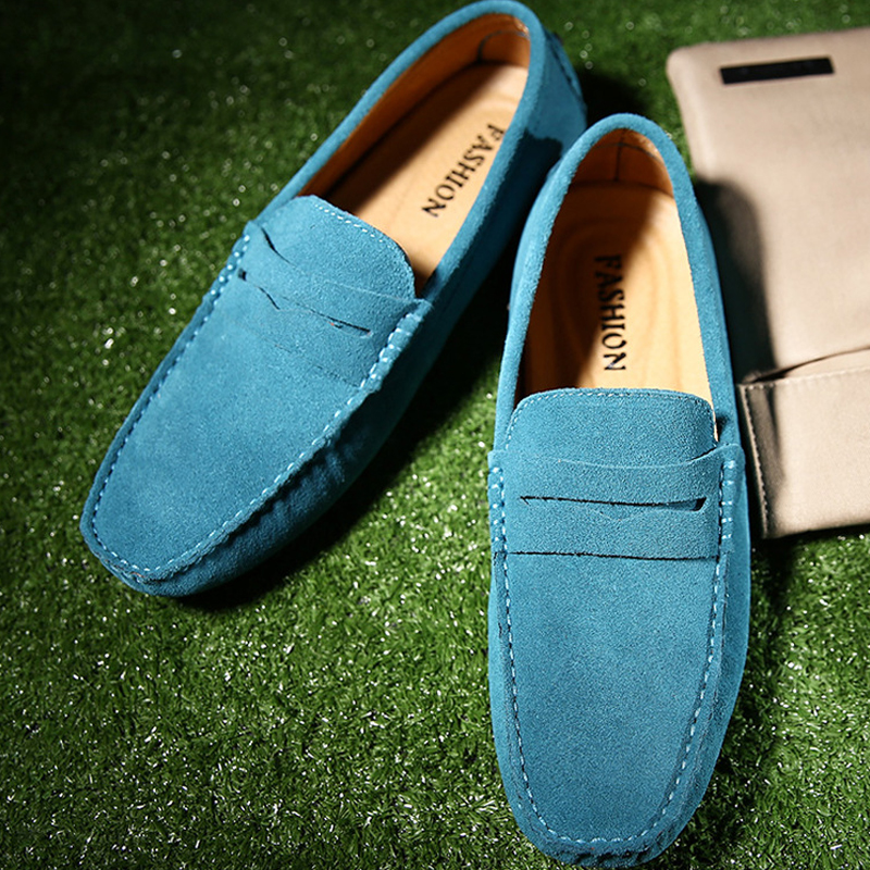Men's Shoes Plus Size 11.5-15 Cow Suede Man Shoes Leather Genuine Breather Massage Driving Loafers Casual Shoes Men