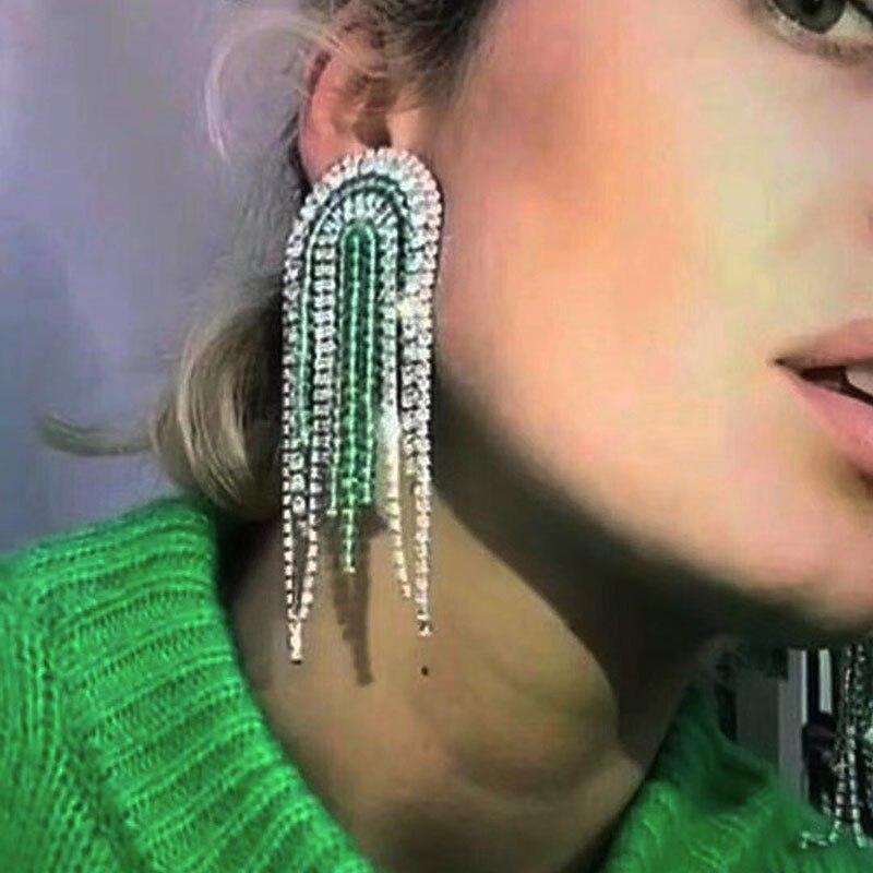 Rhinestone earrings star fashion temperament crystal tassel geometry wild  earrings ball dance luxury bride accessories 920-in Stud Earrings from  Jewelry ... 373937fa818b