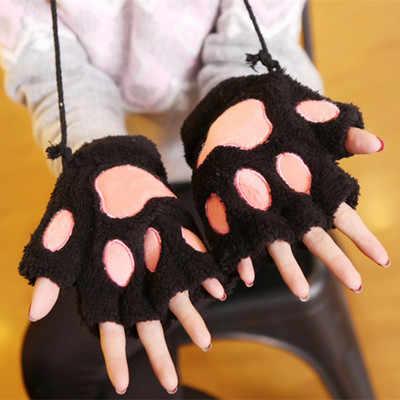 HKSNG ucuz satış hayvan kadın erkek karikatür sevimli pazen sıcak pençe gri pembe siyah pazen eldiven cadılar bayramı aile Kigurumi