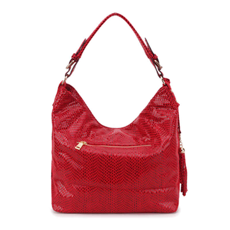 Bolso de hombro de cuero de serpiente para mujer, bolsos con patrón de serpentina, bolsos con borlas, bolso grande, bolso de diseñador de lujo para mujer SS0309