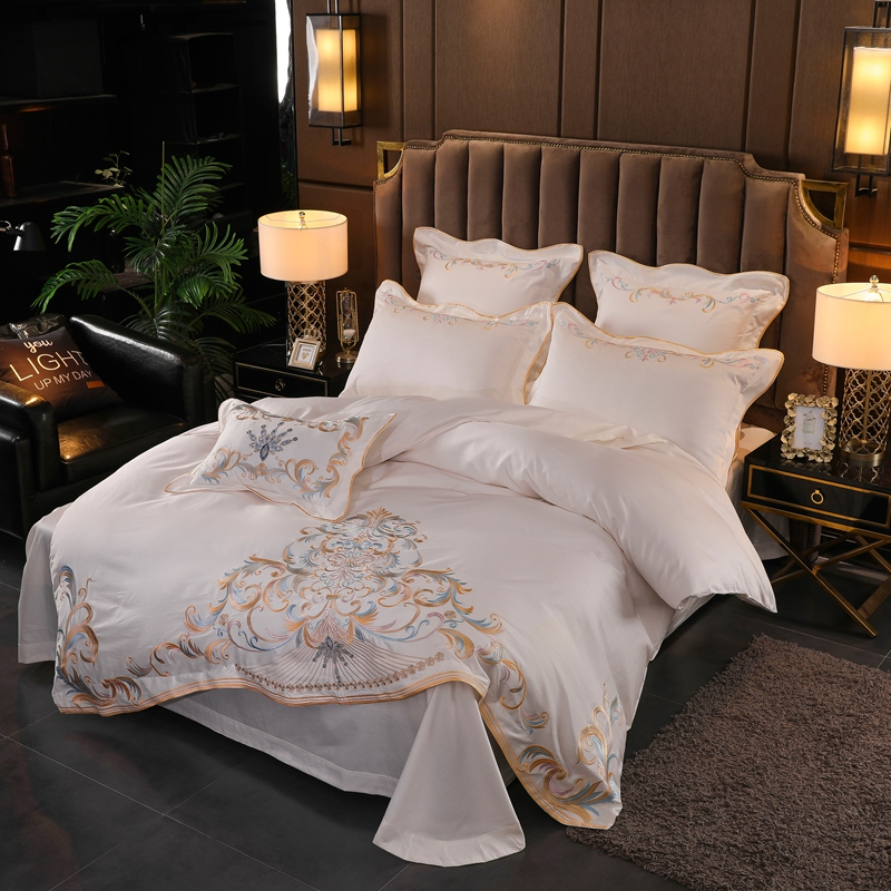 럭셔리 퀸 킹 사이즈 침대 시트 화이트 이집트면 침구 세트 침대 세트 베드 리넨 이불 커버 parrure de lit ropa de cama-에서침구 세트부터 홈 & 가든 의  그룹 2