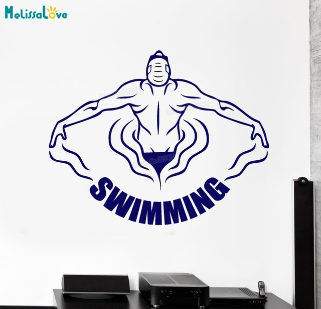 New design vinyl wall decal swimming pool swimmer water sports word logo stickers removable home decoration