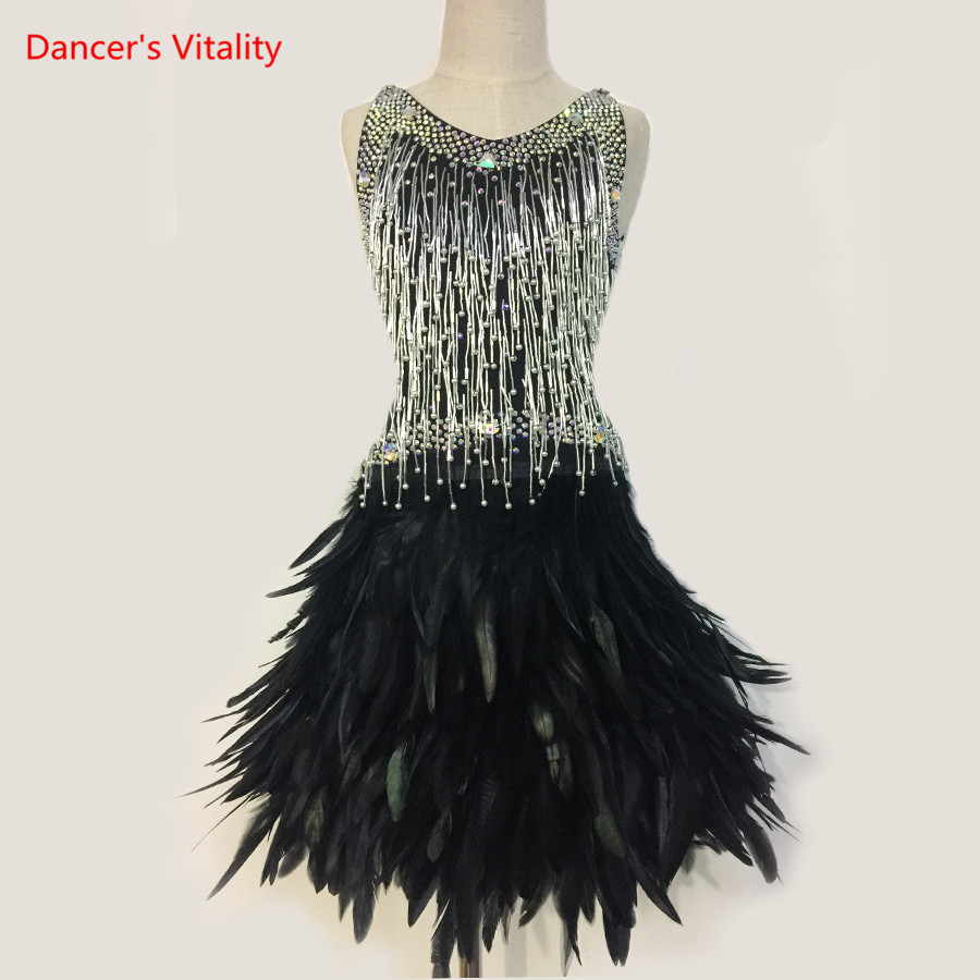 Girls Latin Dance Performance Clothes Sexy Senior Feathers Dress Children Kid's Latin Dance Stage Competition Costumes