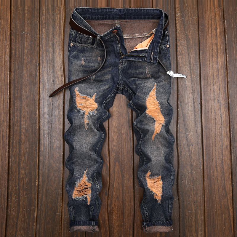 Men 'S Ripped Skinny Biker   Jeans   Destroyed Frayed Slim Fit Denim Pants Cross-Border Foreign Trade New Style Ripped   Jeans   Men's S