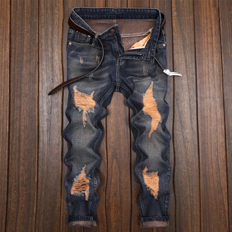 Men 's Ripped Skinny Biker Jeans Destroyed Frayed Slim Fit Denim Pants Fashion New Ripped Black Jeans Denim Trousers Pants