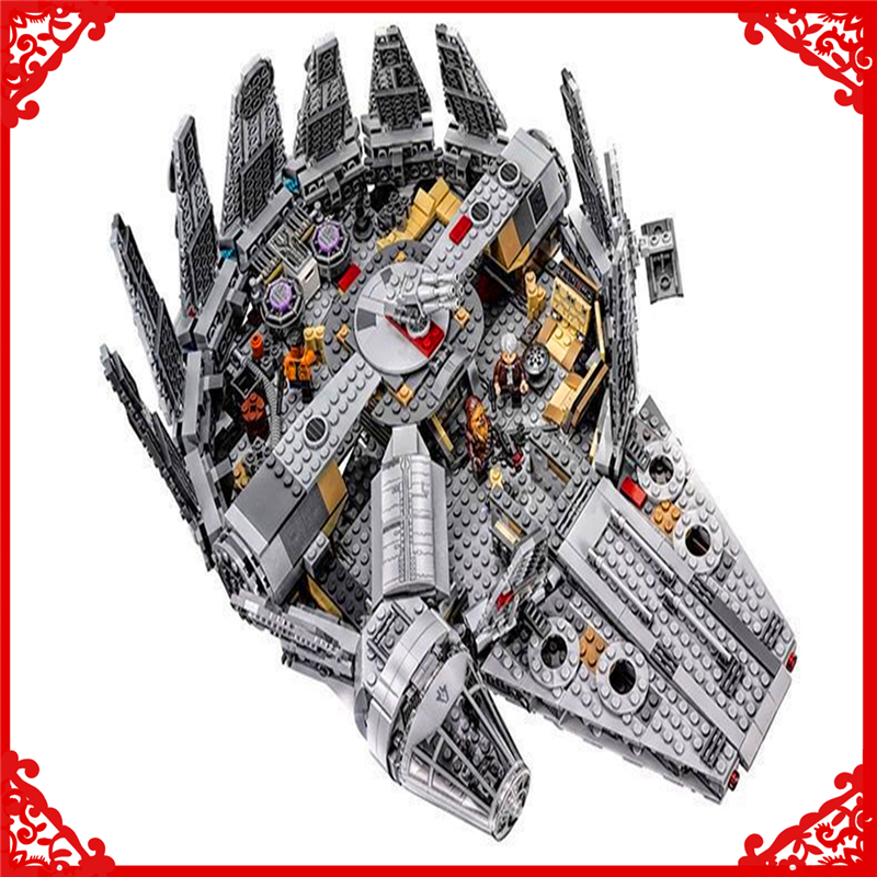 1381Pcs Star Wars Force Awakens Millennium Model Building Block Toys LEPIN 05007 Educational Gift For Children Compatible Legoe lepin 22001 pirate ship imperial warships model building block briks toys gift 1717pcs compatible legoed 10210